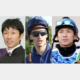 左から武豊さん、ルメールさん、松岡正海さん